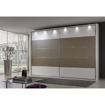 Hollywood Sliding Door Wardrobe with Centre Stripe Sahara Grey by Wiemann