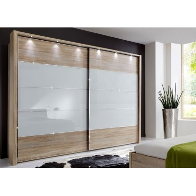 Hollywood Sliding Door Wardrobe with Centre Stripe White Glass by Wiemann