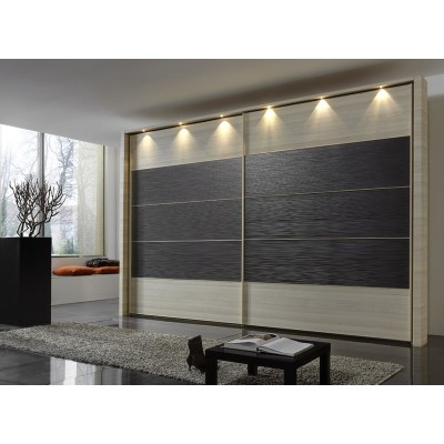 Hollywood Sliding Door Wardrobe with Centre Stripe Textured Mocha by Wiemann