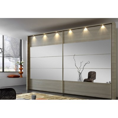 Hollywood Sliding Door Wardrobe with Centre Stripe Mirror by Wiemann