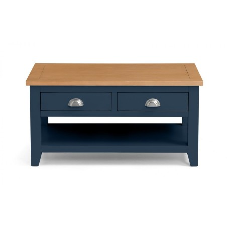 RICHMOND COFFEE TABLE WITH 2 DRAWERS BLUE/PALE OAK