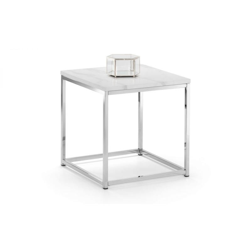 SCALA WHITE MARBLE TOP LAMP TABLE
