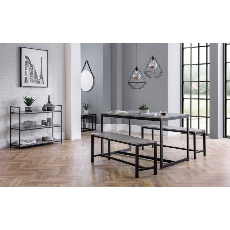 SET OF STATEN DINING TABLE & 2 BENCHES