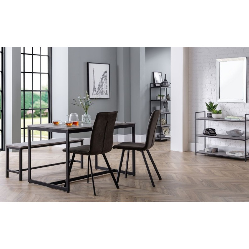 SET OF STATEN DINING TABLE, BENCH & 2 MONROE CHAIRS