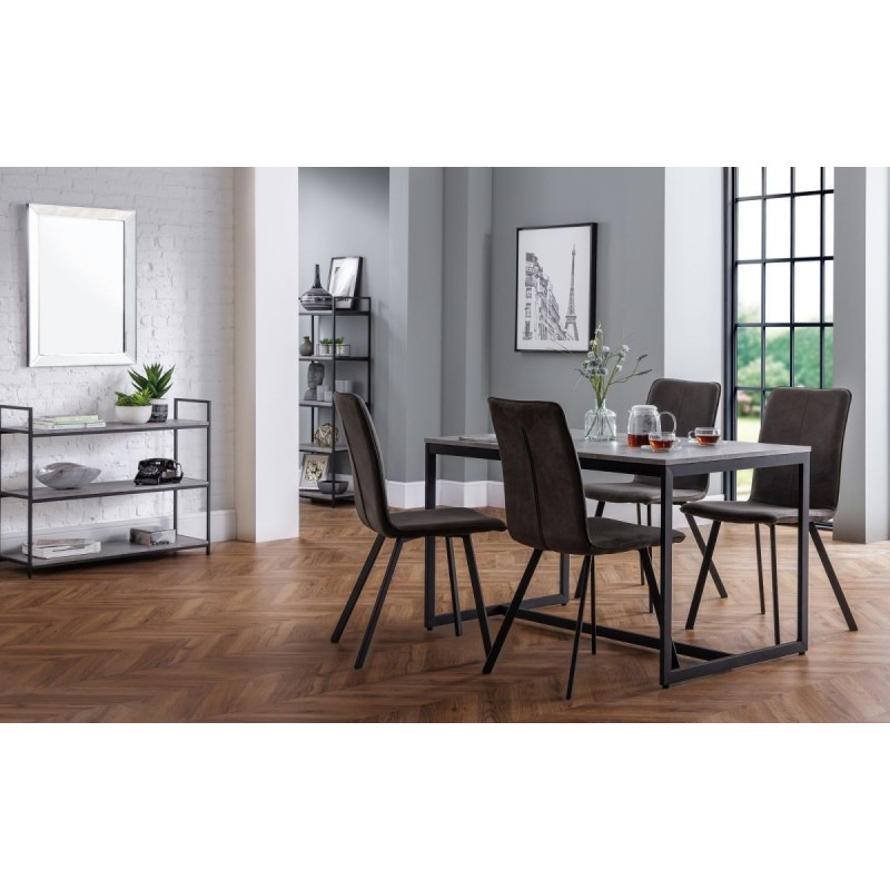 SET OF STATEN DINING TABLE & 4 MONROE CHAIRS