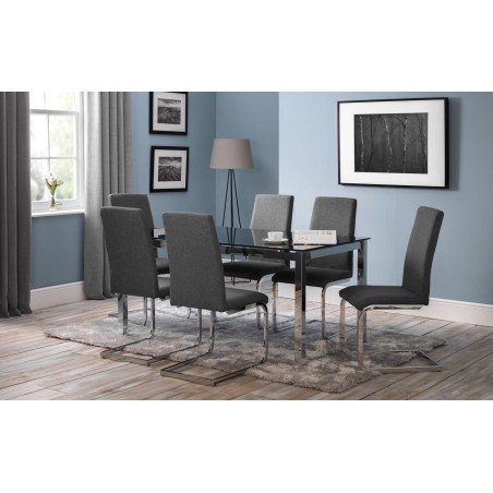 SET OF TEMPO TABLE & 6 ROMA CHAIRS