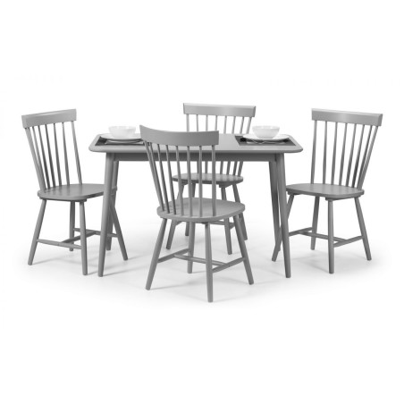 SET OF TORINO GREY DINING TABLE AND 4 TORINO GREY CHAIRS