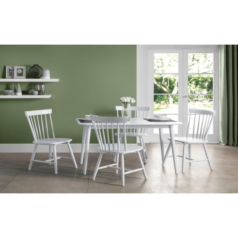 SET OF TORINO WHITE DINING TABLE + 4 CHAIRS