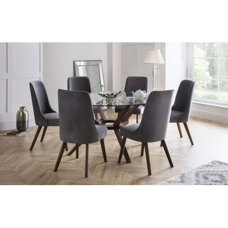 SET OF CHELSEA LARGE TABLE & 6 HUXLEY CHAIRS