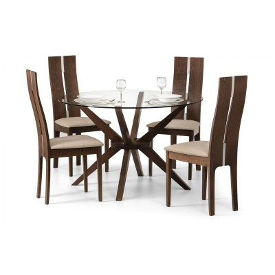 SET OF CHELSEA GLASS TABLE & 4 CAYMAN CHAIRS