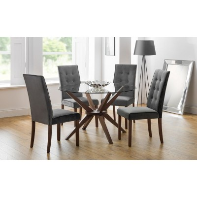 SET OF CHELSEA GLASS TABLE & 4 MADRID CHAIRS