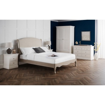 CAMILLE FABRIC AND WOOD BED 150CM