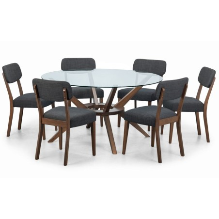 SET OF CHELSEA 140CM ROUND TABLE & 6 FARRINDON CHAIRS