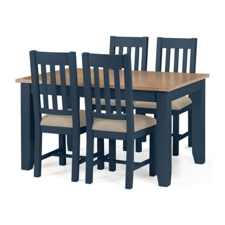 SET OF RICHMOND DINING TABLE BLUE & 4 CHAIRS