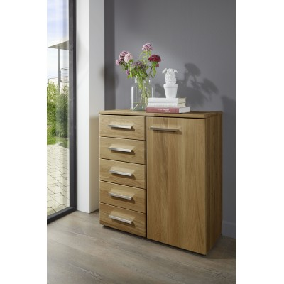 Amalfi Hinged Wardrobe Oak Wood Finish With Plain cross trim