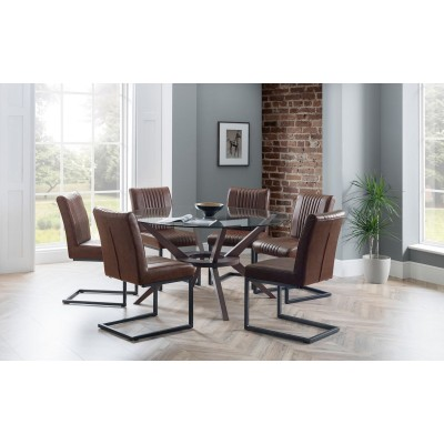 SET OF CHELSEA 120CM ROUND TABLE & 4 BROOKLYN CHAIRS