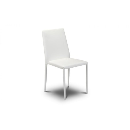 SET OF ENZO DINING TABLE AND 4 JAZZ WHITE CHAIRS