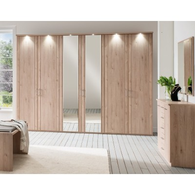 Wiemann Valencia 6 Door Mirror Wardrobe in Rustic Oak