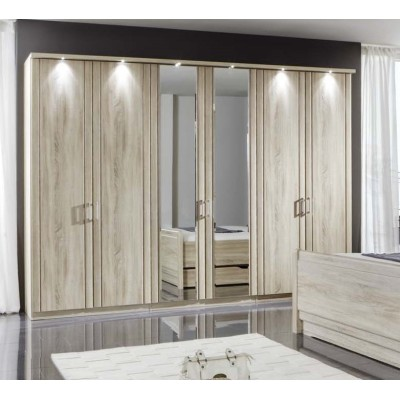Wiemann Valencia 5 Door Mirror Wardrobe in Rustic Oak