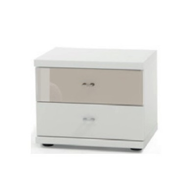 Wiemann Miro 2 Drawer Magnolia Glass Top Drawer Bedside Cabinet in White