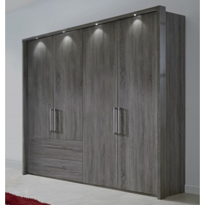 Wiemann Lincoln 5 Door Combi Mirrored Wardrobe In Dark Rustic Oak