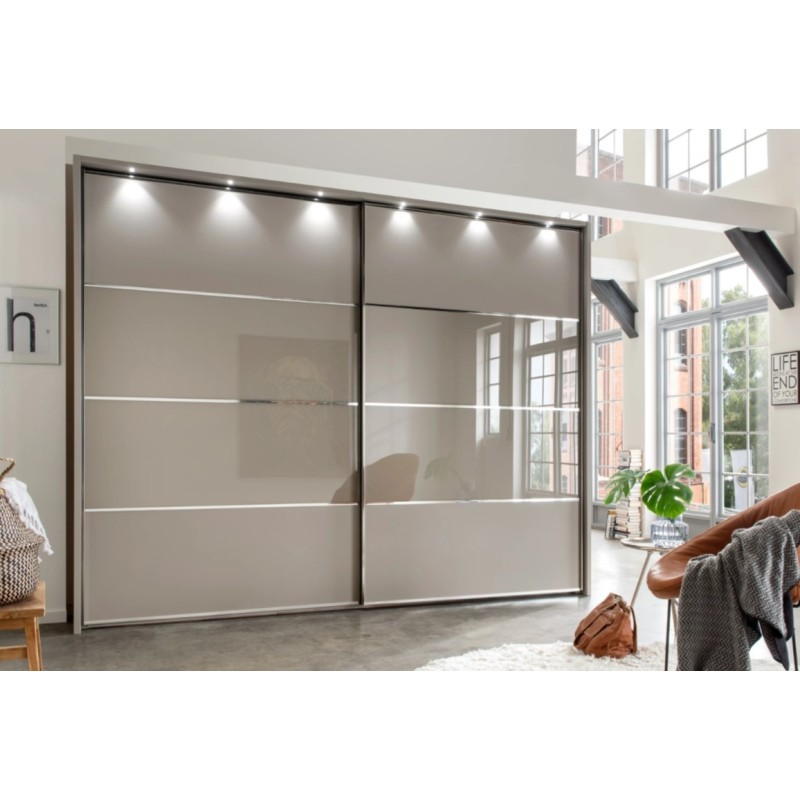 Wiemann Limara Sliding Wardrobe in Pebble Grey and Line 2 and 3 in Pebble Grey Glass