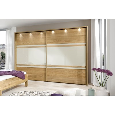 Wiemann Modena 2 Door Sliding Wardrobe in Oak and Magnolia Glass