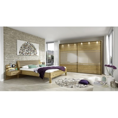 Wiemann Modena 2 Door Sliding Wardrobe in Oak and Sahara Glass
