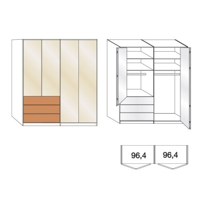 Wiemann Serena 6 Door Combi Bi Fold Wardrobe in Oak and Magnolia Glass