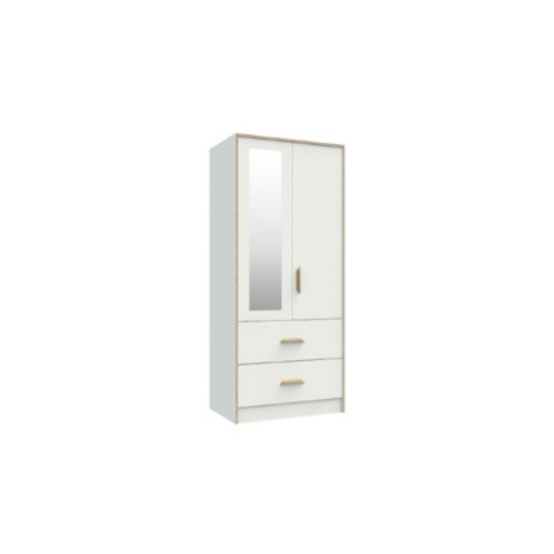 Marlow White 2 Drawer Combi With Mirror