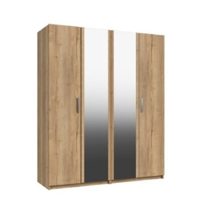 Waterfall 4 Door Wardrobe With 2 Mirrors Natural Rustic Oak