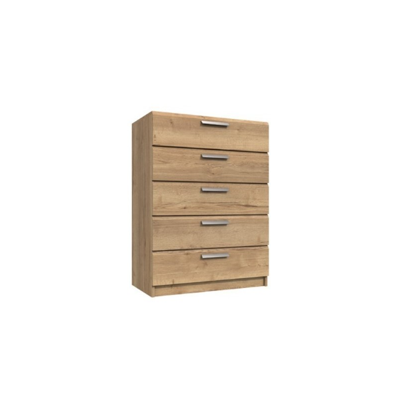 Waterfall 5 Drawer Chest Natural Rustic Oak