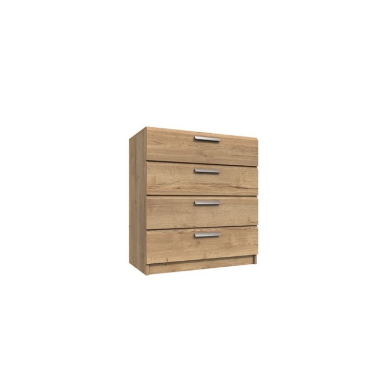 Waterfall 4 Drawer Chest Natural Rustic Oak