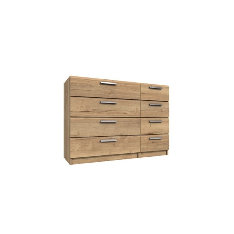 Waterfall 8 Drawer chest Natural Rustic Oak