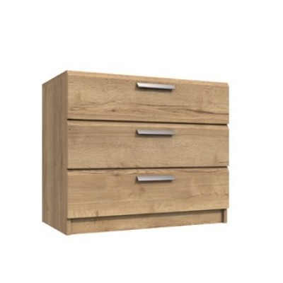Waterfall 3 Drawer Chest Of Drawers Natural Rustic Oak