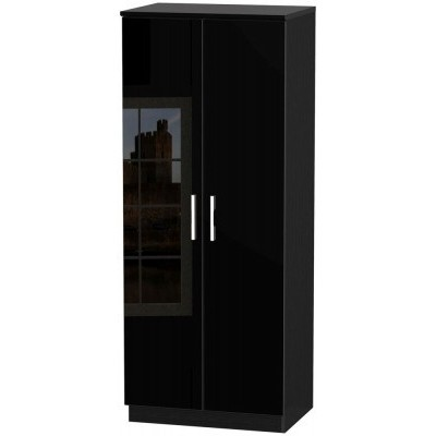 Knightsbridge High Gloss Black 2 Door Wardrobe