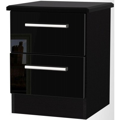 Knightsbridge High Gloss Black 2 Drawer Bedside