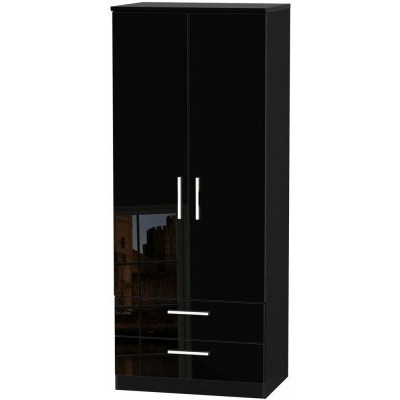 Knightsbridge High Gloss Black 2 Drawer 2 Door Wardrobe