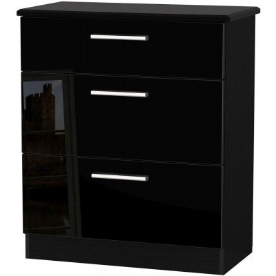 Knightsbridge High Gloss Black 3 Drawer Deep Chest