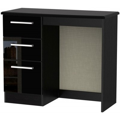 Knightsbridge High Gloss Black 3 Drawer Dressing Table