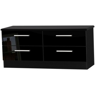 Knightsbridge High Gloss Black 4 Drawer Bed Box