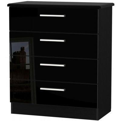 Knightsbridge High Gloss Black 4 Drawer Chest