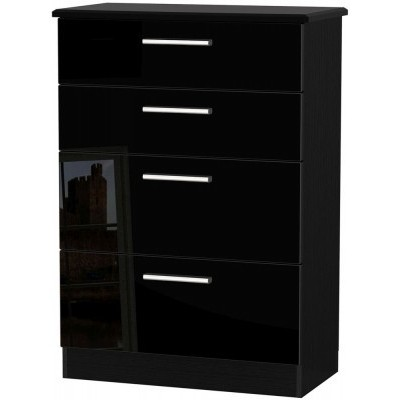 Knightsbridge High Gloss Black 4 Drawer Deep Chest