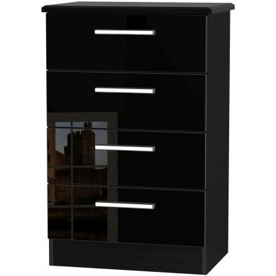 Knightsbridge High Gloss Black 4 Drawer Midi Chest