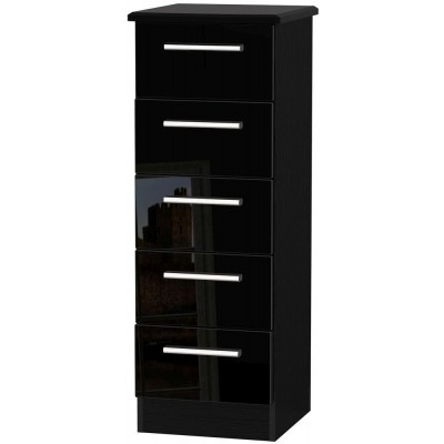 Knightsbridge High Gloss Black 5 Drawer Tallboy