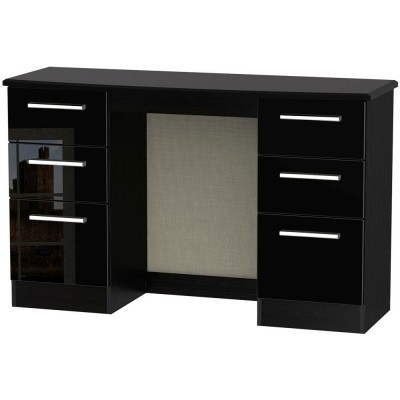 Knightsbridge High Gloss Black 6 Drawer Dressing Table