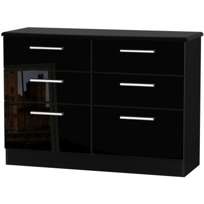Knightsbridge High Gloss Black 6 Drawer Midi Chest