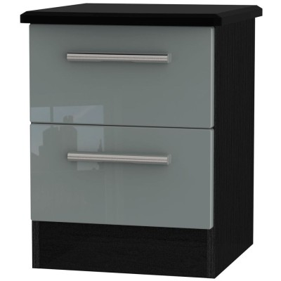 Knightsbridge High Gloss Grey and Black 2 Drawer Bedside