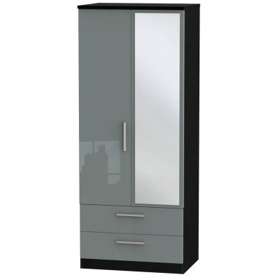 Knightsbridge High Gloss Grey and Black 2 Drawer 2 Door Wardrobe with mirror