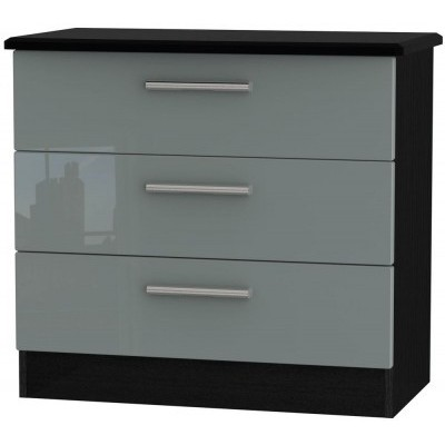 Knightsbridge High Gloss Grey and Black 3 Drawer Chest